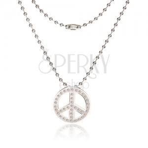 Náhrdelník z chirurgické oceli - armádní řetízek, symbol Peace