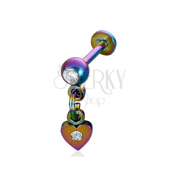 Piercing Labret anodizovaná ocel přívěsek srdce