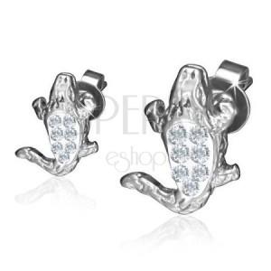 Ocelové náušnice, lesklý zirkonový krokodýl