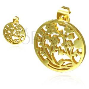 Zlaté náušnice z oceli, vyřezávaný kruh, květy révy