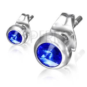 Puzetové náušnice z oceli - modrý blyštivý kamínek v lesklé objímce