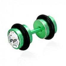 Falešný piercing zelený se zirkony