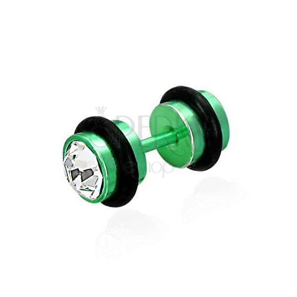 Falešný piercing v zeleném barevném provedení - broušené čiré zirkony, černé gumičky