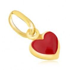 Lesklý zlatý přívěsek 375 - drobné vypouklé červené srdíčko, email GG06.33