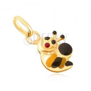 Přívěsek ze žlutého 9K zlata - drobná žlutočerná včelka, email