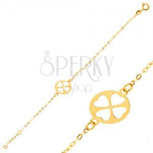 Náramek ze žlutého 9K zlata - lesklý řetízek s okrouhlou známkou, čtyřlístek