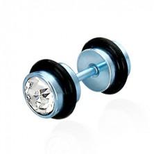 Falešný piercing v modrém barevném provedení - broušené čiré zirkony, černé gumičky