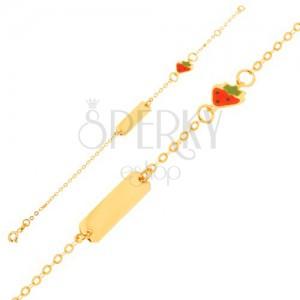 Zlatý náramek 375 - řetízek s lesklou destičkou, přívěsek s jahůdkou s emailem