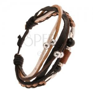 Multináramek - hnědo-černý pletenec z kůže, válečky ze dřeva a kovu, šňůrky