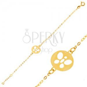 Náramek ze žlutého 9K zlata - lesklý řetízek s okrouhlou známkou, motýlek