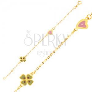 Náramek ze žlutého 9K zlata - blyštivý řetízek, přívěsek ve tvaru čtyřlístku a srdce