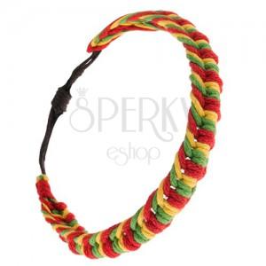 Pletený náramek z červených, zelených a žlutých šňůrek, housenka