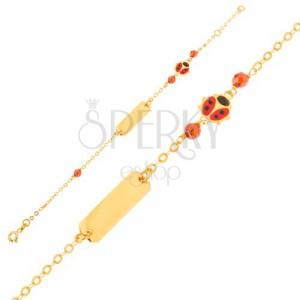 Zlatý náramek - řetízek, destička, červenočerná beruška, hnědé korálky