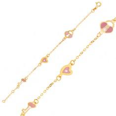 Náramek ze žlutého 9K zlata - lesklý řetízek, přívěsky zámky, srdce a klíče GG06.44