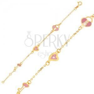 Náramek ze žlutého 9K zlata - lesklý řetízek, přívěsky zámky, srdce a klíče