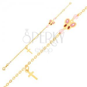 Zlatý náramek 375 - blyštivý řetízek, křížek, glazovaný motýl, korálky