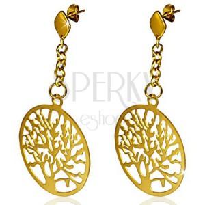 Ocelové náušnice zlaté barvy, vyřezávaný kruh se stromem, řetízek