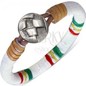 Oblý náramek omotaný bílou šňůrkou, barevné pásy, knoflík