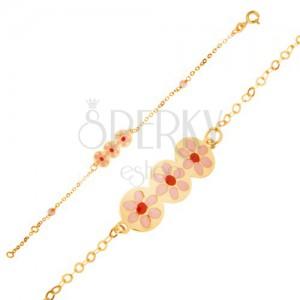 Náramek ze žlutého 9K zlata - řetízek, známka s růžovými kvítky, email