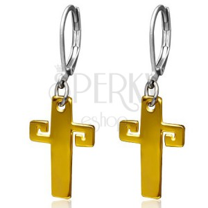 Ocelové náušnice zlaté barvy, kříž s řeckým klíčem