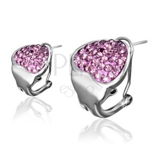 Ocelové klipsové náušnice, růžové zirkonové srdce