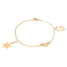 Ocelový náramek zlaté barvy, kontura medvídka, hvězda, knírek S34.28