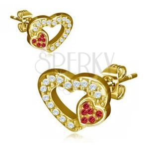 Zlaté ocelové náušnice, dvě srdce, červené a čiré kamínky