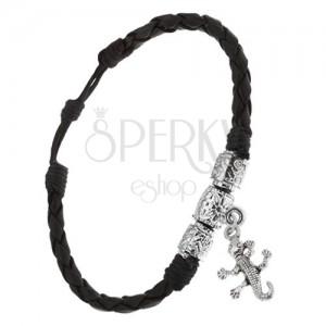 Pletený černý koženkový náramek, tři ozdobné válečky, krokodýl