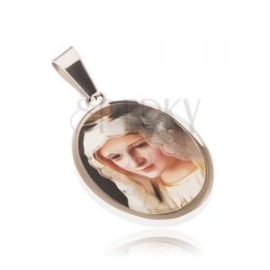 Oválný ocelový medailon, obrázek madony zalitý glazurou