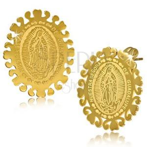 Oválné ocelové náušnice zlaté barvy, Nanebevzetí Panny Marie