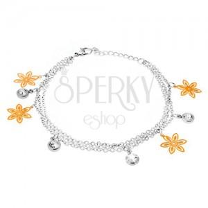 Náramek na ruku - tři řetízky, květy zlaté barvy, kruhové objímky s kamínky