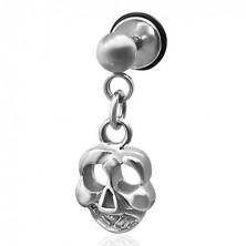 Falešný piercing visící lebka