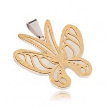 Zlato-strieborný prívesok z ocele, motýľ s pieskovaným povrchom