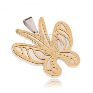 Zlato-stříbrný přívěsek z oceli, motýl s pískovaným povrchem