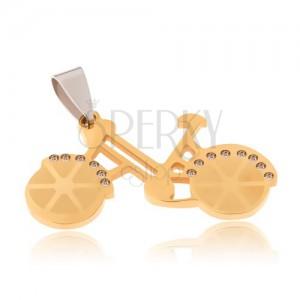 Přívěsek z chirurgické oceli - bicykl zlaté barvy, čiré zirkony