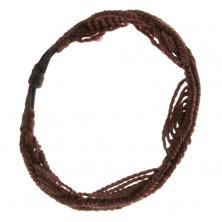 Čokoládovohnedý náramok z motúzikov, motív vĺn