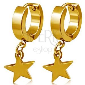 Ocelové náušnice zlaté barvy, kruhy a visací hvězda