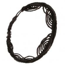 Čierny šnúrkový náramok z nylonových motúzikov, motív vĺn