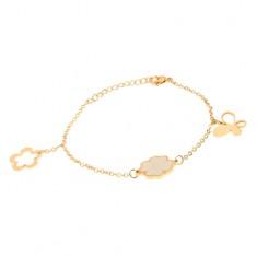 Ocelový náramek na ruku zlaté barvy, řetízek, motýl, čtyřlístek, květ S36.08