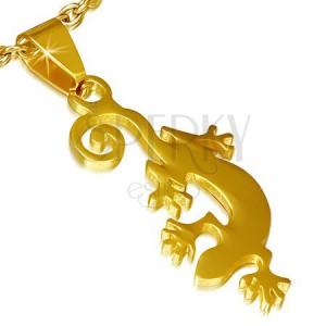 Přívěsek z chirurgické oceli zlaté barvy, ještěrka