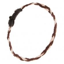 Šnúrkový náramok - pletenec z čokoládovohnedých a béžových šnúrok