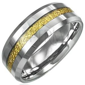 Wolframový prsten se vzorovaným pruhem zlaté barvy, 8 mm