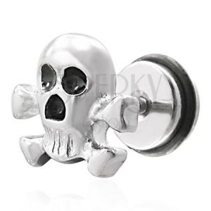 Falešný piercing pirátska lebka - fake plug