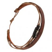 Multináramok - hnedý pás kože, tri orieškovohnedé šnúrky, čierny valček
