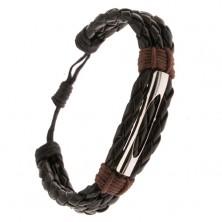 Náramok - tri čierne pletence, gaštanovohnedá šnúrka, rúrka
