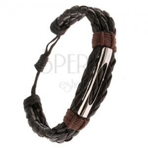 Náramek - tři černé pletence, kaštanově hnědá šňůrka, rourka