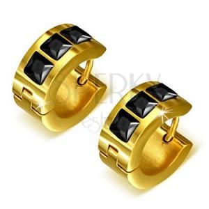 Zlaté kruhové náušnice z oceli, tři černé čtvercové kamínky