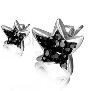 Ocelové náušnice, černé zirkonové hvězdice
