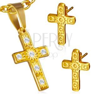 Ocelová sada zlaté barvy - přívěsek a náušnice, kříž, čiré kamínky