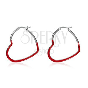 Ocelové náušnice, červené souměrné glazované obrysy srdcí